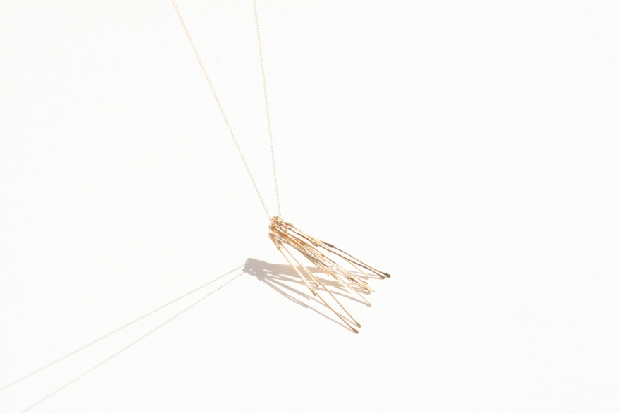 sticks necklace gold hanging